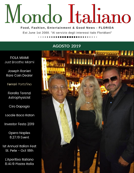 Mondo Italiano Magazine August 2019 Cover with Joseph Ranier, Fiorella Terenzi and Ciro Dapagio at Fiola Miami